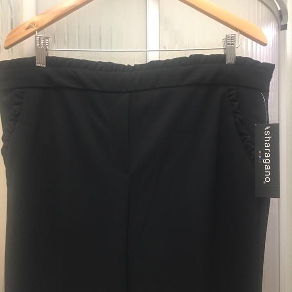 Sharagano Pants - Black dressy pants- with ruffle ... Sharagano